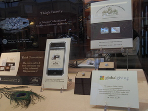 globalgiving sign in Tanau Jewellery display