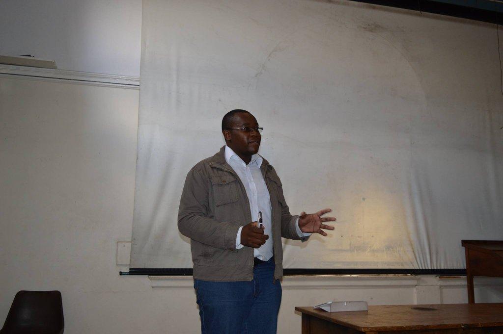 Takunda making his presentation at LeadTalks