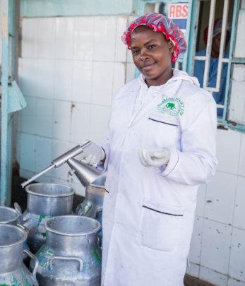 Rhobi works at Ol'Kalou Dairy Ltd in Kenya