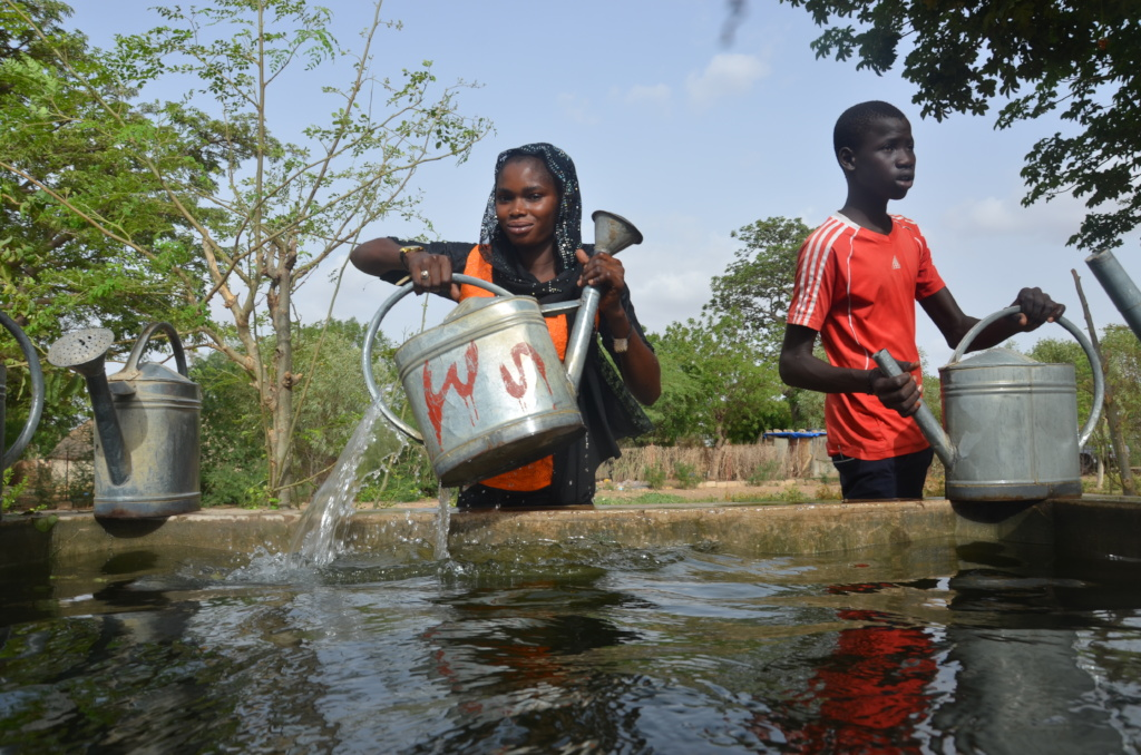 Walo community members getting water for gardens