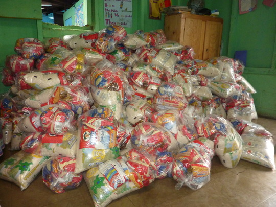 A mountain of food parcels