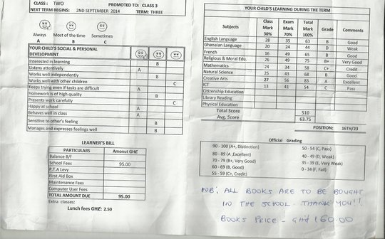 Her school reports shows great progress