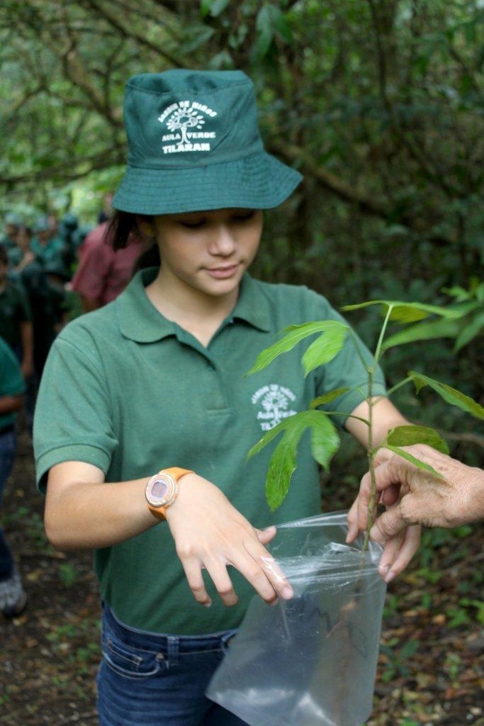 Receiving a tree at La Reserva field trip