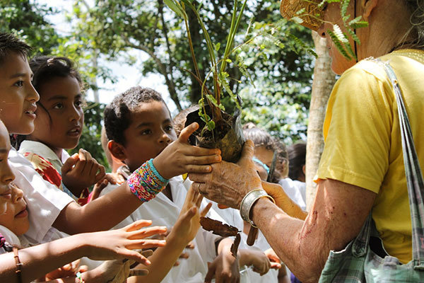 Passing out trees to students in Delicias, July