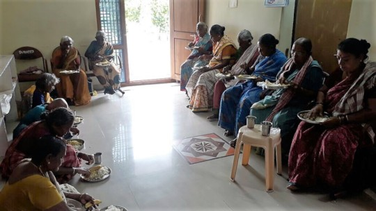 Old age home donation and giving nutritious lunch