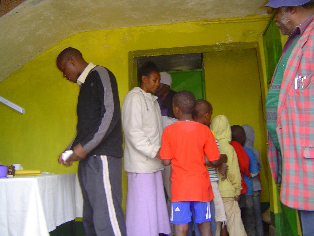 Children entering bathroom