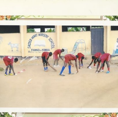 Clearing the school yard - service project