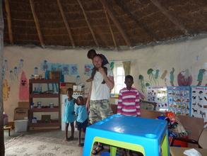 Inside the kindergarten hut