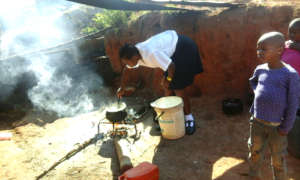 Joanna Cooking for the Orphaned Family of Kids