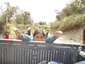 Daily transport by pickup truck to school