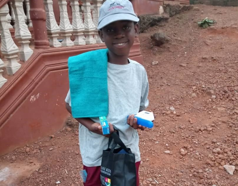 Alhaji is thankful for the school supplies