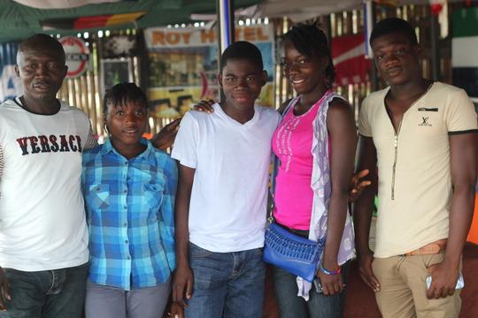 Joshua with ebola-orphaned family
