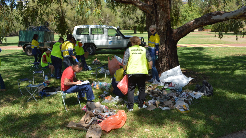Sorting rubbish collected during clean up day