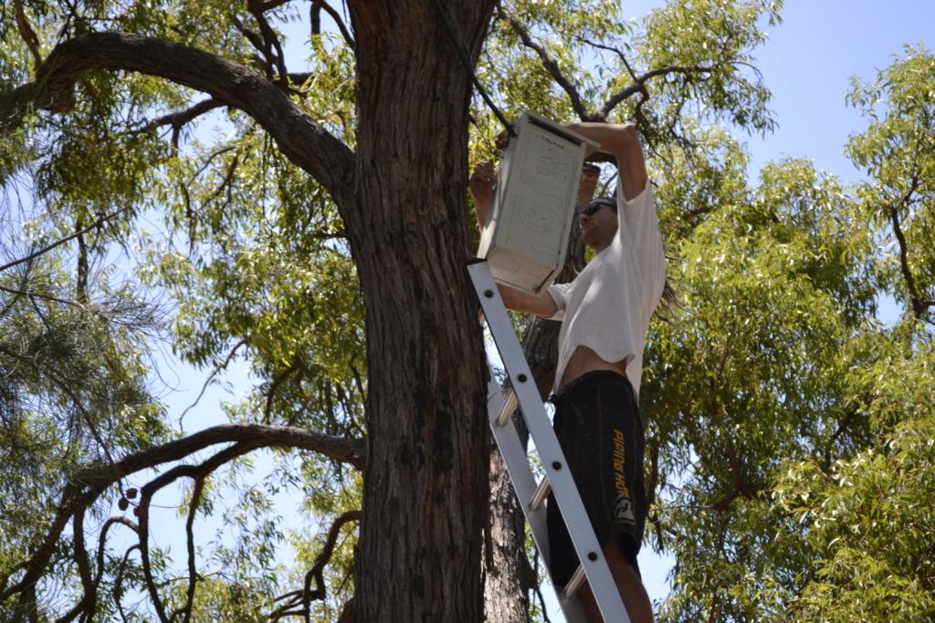Simon Cherriman installing boxes in school grounds