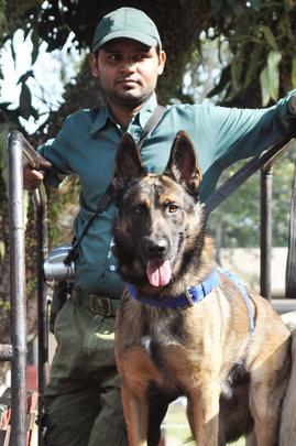 Jorba with his handler, Anil Das, on patrol
