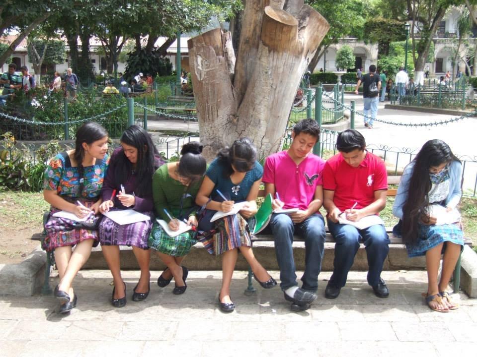 Preparing their English notes!