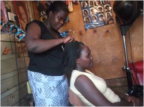 Inside a salon in Kibera