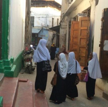 Zanzibari students make their way to school