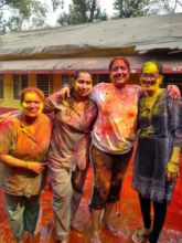 Volunteers and Nurses enjoying Holi with children