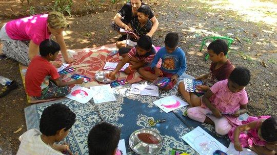 Volunteers help the kids