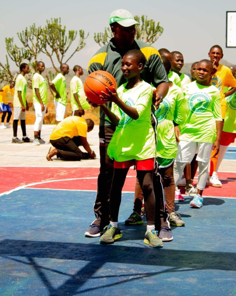 Kids in action during the clinic.
