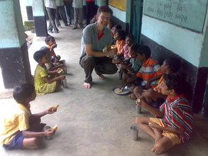 Hart sharing a laugh - Antapali school