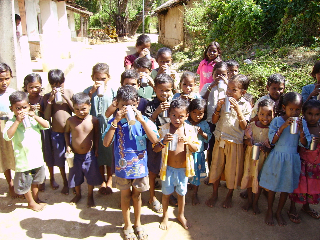 Children in Bolaranga-First Taste of Soymilk