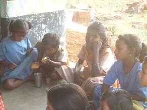 Mathikai school - waiting for the soymilk