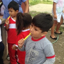 Chapare children with toothbrushes