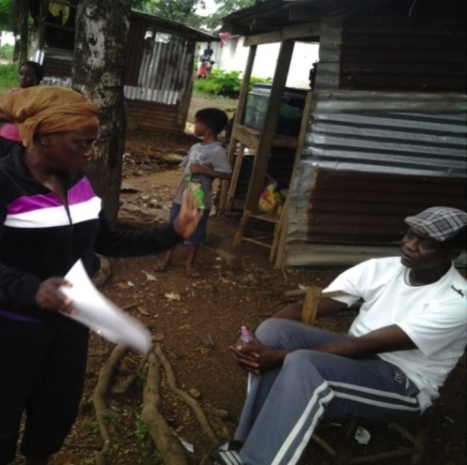 One-on-one engagement on the prevention of Ebola.