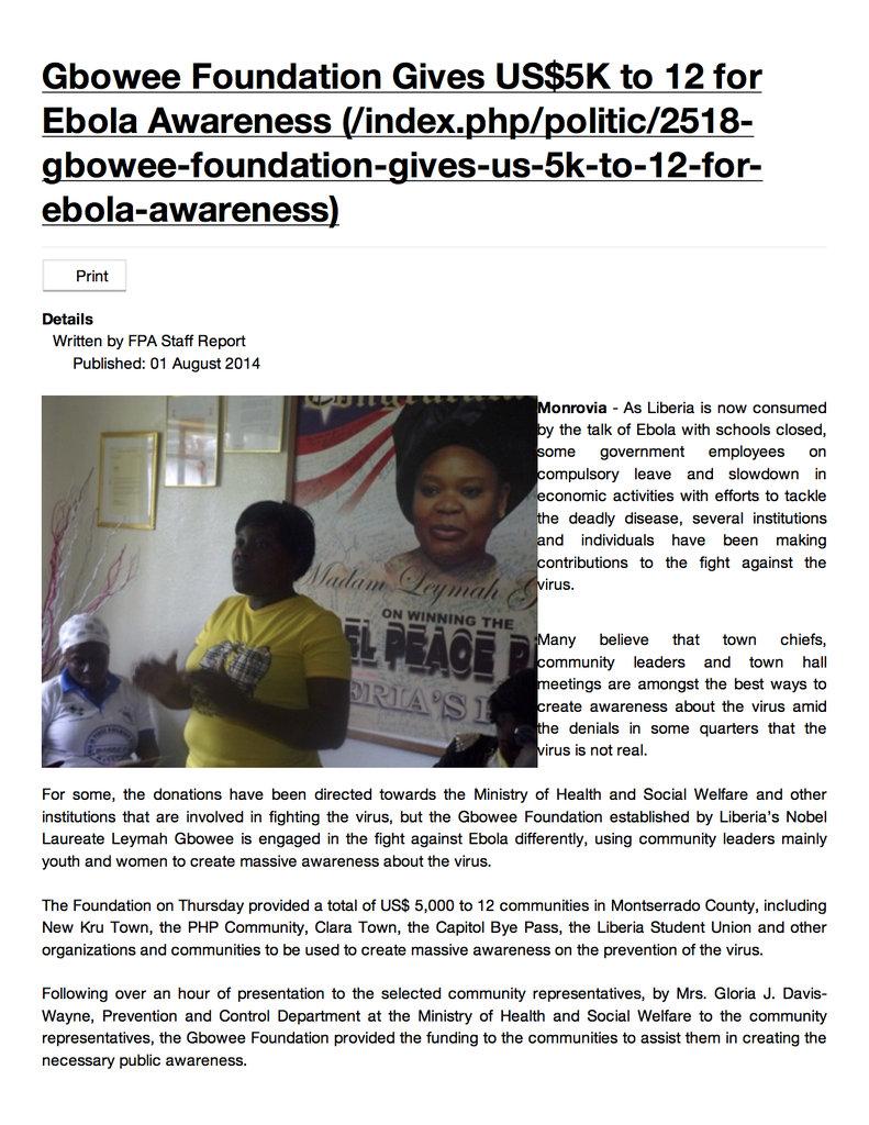 Equip Liberians to End Ebola