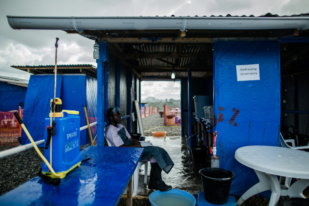 Disinfection station at an Ebola Treatment Center