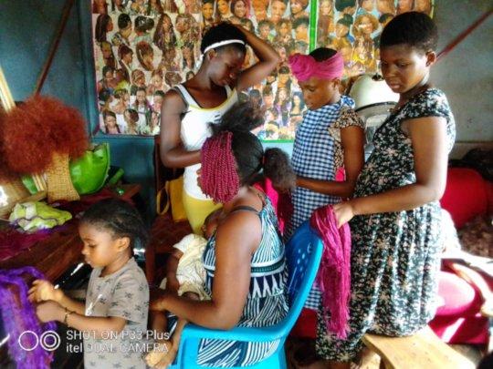 children at hairdressing saloon