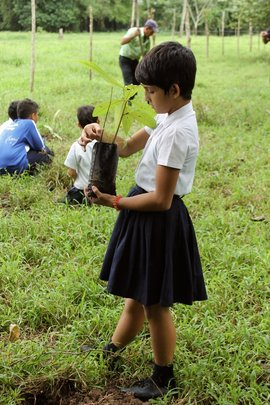 One of the schoolchildren at the Delicias primary