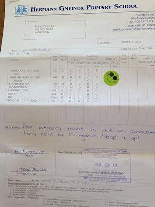 Vini's school report, so proud