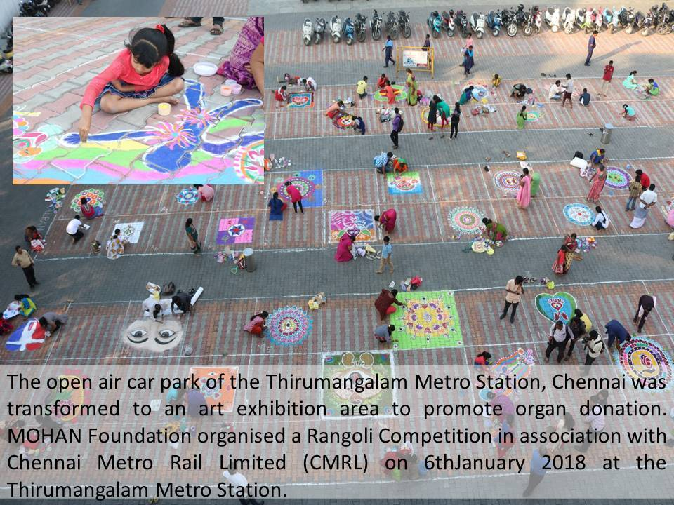 Rangoli competition at metro station parking