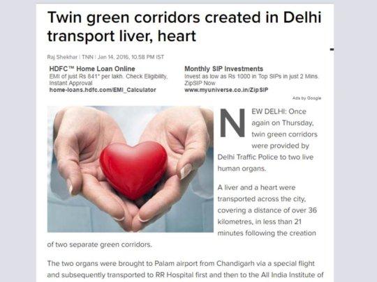 Heart from Aurangabad transplanted in Delhi