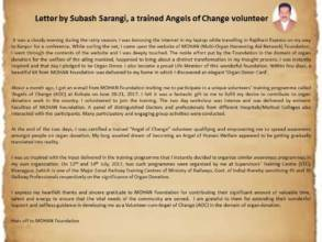 Letter by an Angel of Change trained volunteer