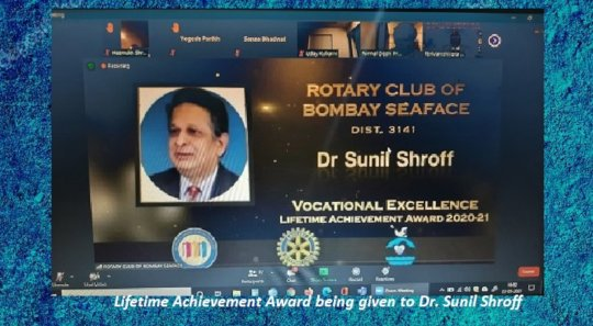 Lifetime Achievement Award to Dr. Sunil Shroff