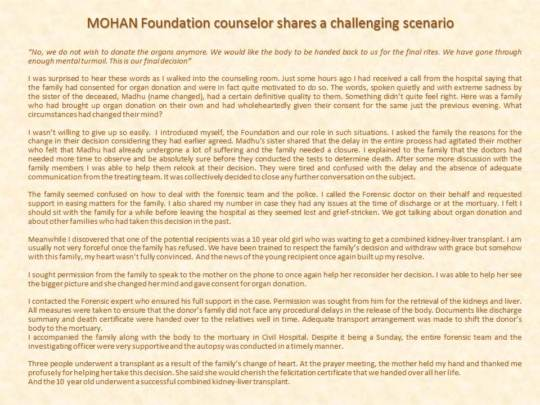 MOHAN Foundation counselor and a challenging case