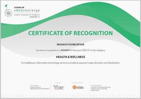 MOHAN Foundation received eNGO Certificate