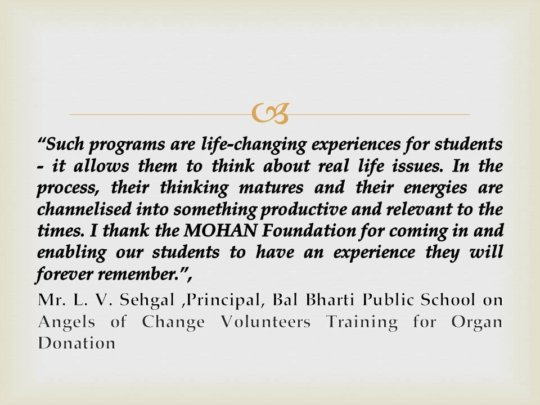Feedback from Principal on Angels of Change