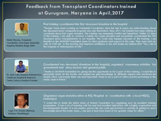 Feedback from trained transplant coordinators