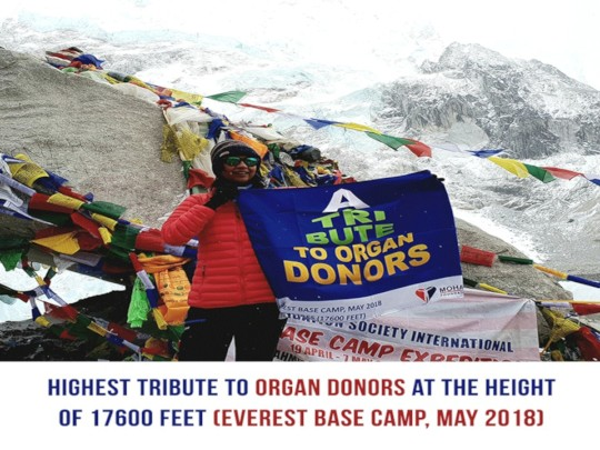 Highest tribute to organ donors at 17600 feet