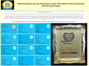 MOHAN Foundation wins Best Website of Year,2016