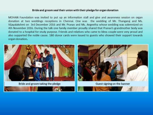 Bride and groom pledge for organ donation