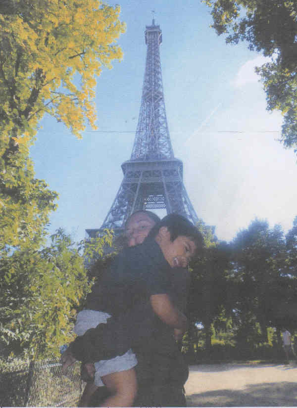 AH with his mother at the Eiffel Tower