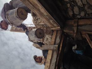Craftsmen working on the restoration.