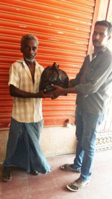 Leper cured receiving food groceries