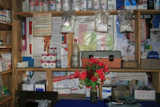 Inside the outpatient room, medicines